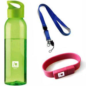 flašky, šnúrky, USB náramky